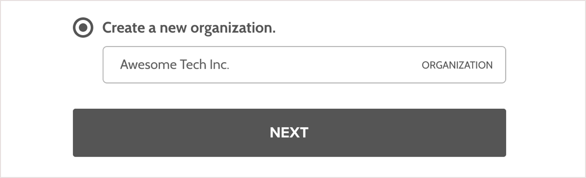 Screenshot: input your new organization or company name